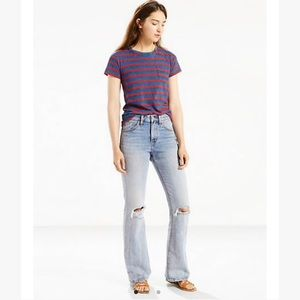 Levi's high rise distressed light wash flare jeans
